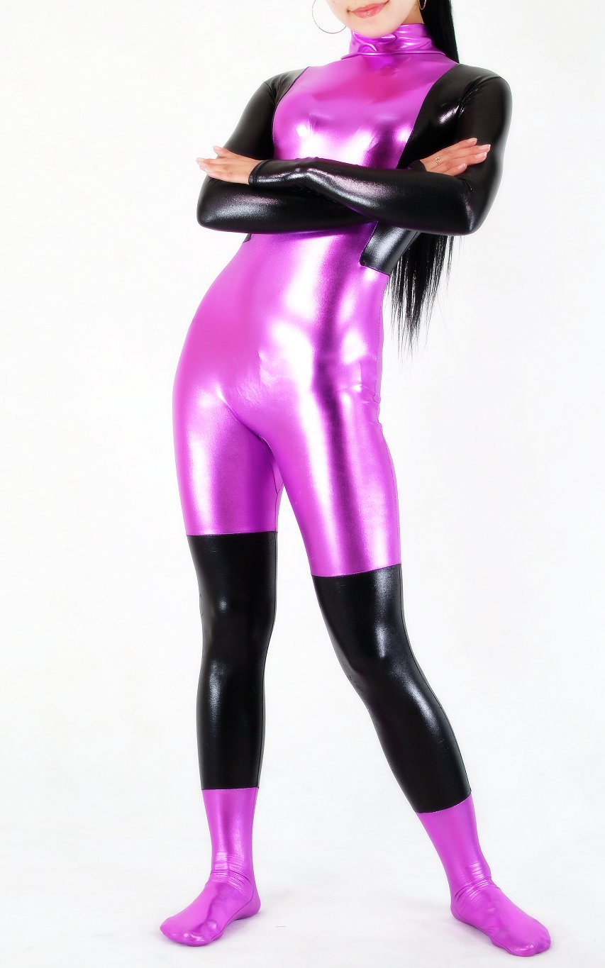 Black Purple Shiny Lycra Sexy Catsuit